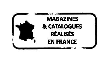 Carte de la france noir, avec écrit Magazines, & Catalogues réalisés en FRANCE