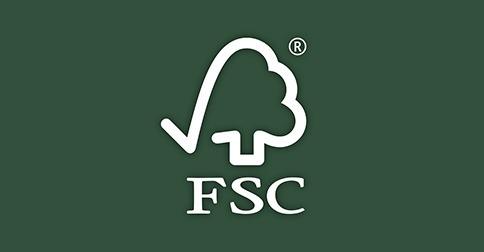 logo-fsc : un arbre blanc avec écrit FSC en dessous en blanc, sur un fond vert foncé