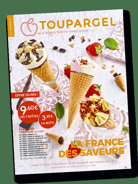 Couverture du catalogue toupargel été 2019 imprimé par AGIR GRAPHIC