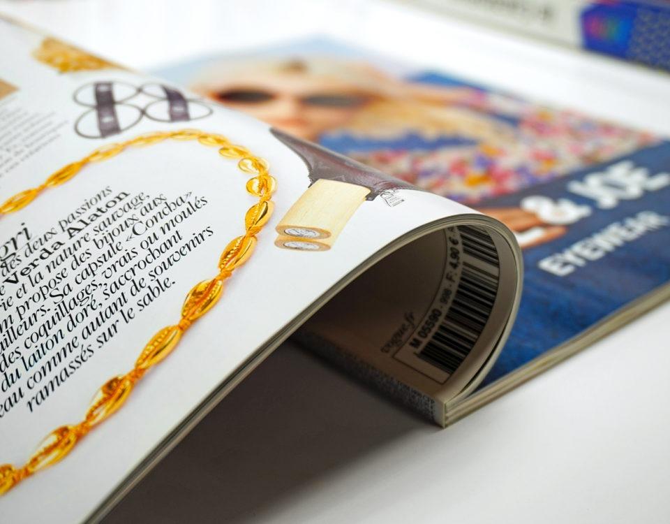 Mise en avant de l'intérieur d'un magazine client et mise en avant des finitions d'impression