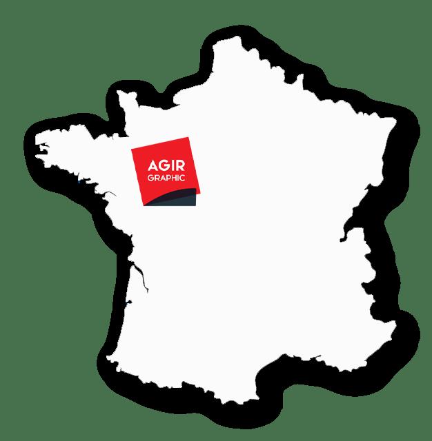 Carte de France avec le logo AGIR GRAPHIC place au niveau de laval (ouest)